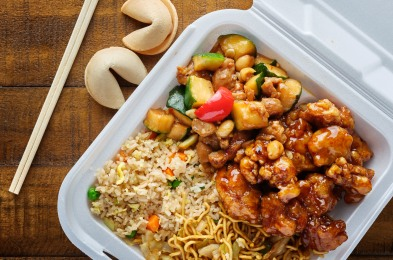 chinese take out with fried rice and general tsos chicken on tab