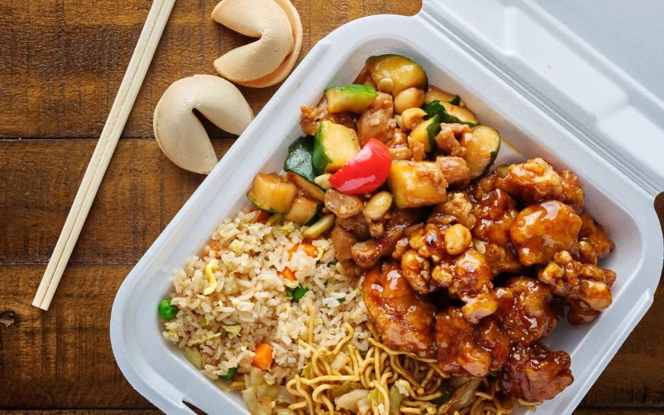chinese take out with fried rice