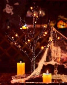 lighted tabletop glittered spooky tree, halloween decoration ideas