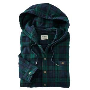 L.L.Bean Scotch Plaid Flannel Hooded Shirt