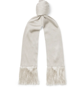 mens scarf - TOM FORD Fringed Silk Scarf (in silver color)