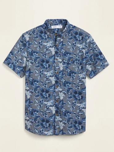 Old Navy Indigo Floral Chambray Short-Sleeve Button-Up Shirt