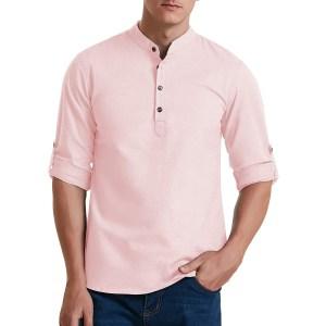 Aimeilgot Cotton Linen Long Sleeve Henley Shirt