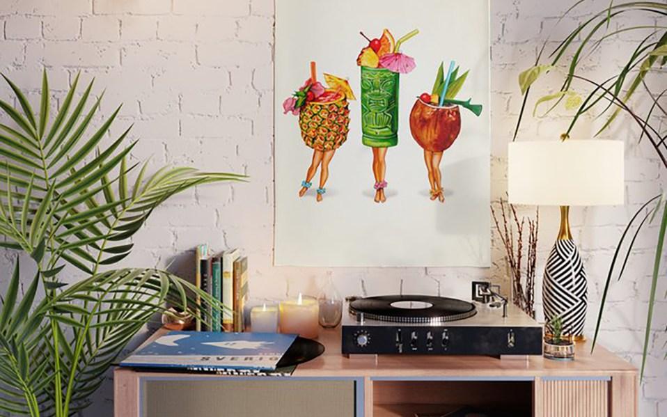 tiki cocktails pop art print, pop