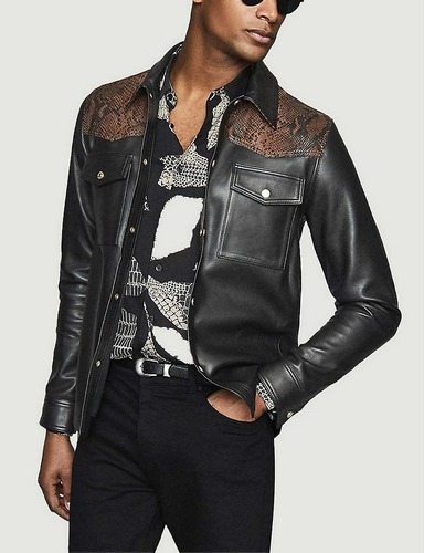 Reiss black leather and snake print jacket