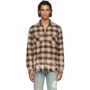 Amiri Beige Bleached Flannel Shirt
