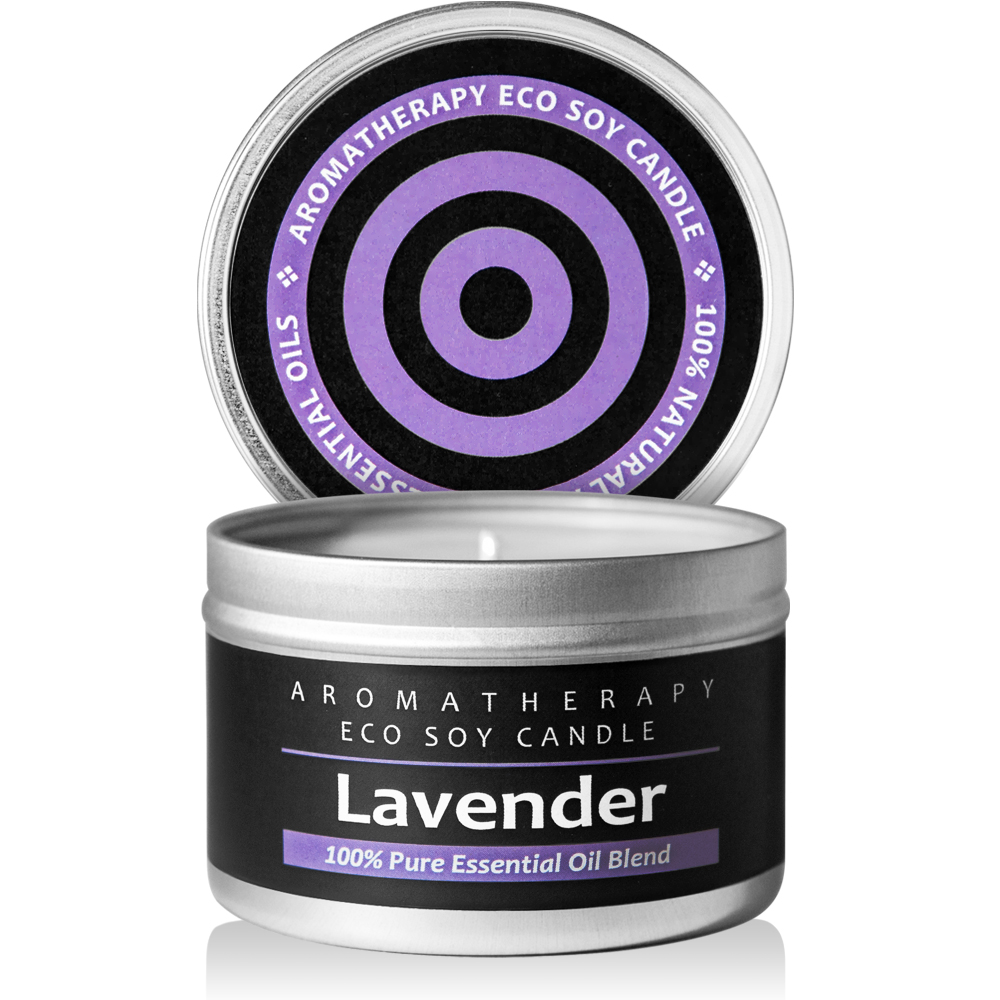 lavender candle in metal tin