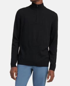 best turtleneck sweater - Theory Quarter-Zip Mockneck Sweater in Ace Wool
