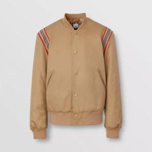 Burberry Icon Stripe Trim Twill Bomber Jacket