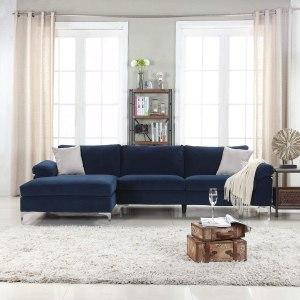 Divano Roma Furniture Modern Large Velvet Fabric Sectional Sofa