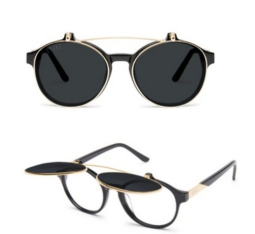 9Five lane black acetate and 24k gold-plated flip-up sunglasses