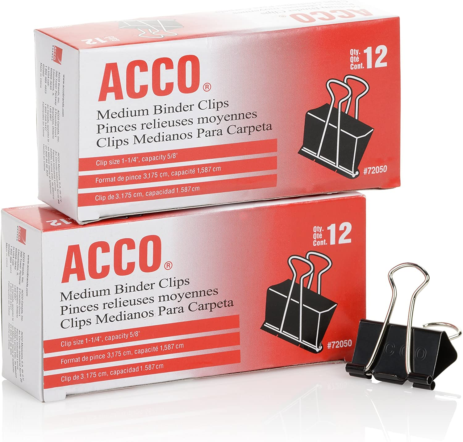 Acco binder clips, two boxes of 12 clips