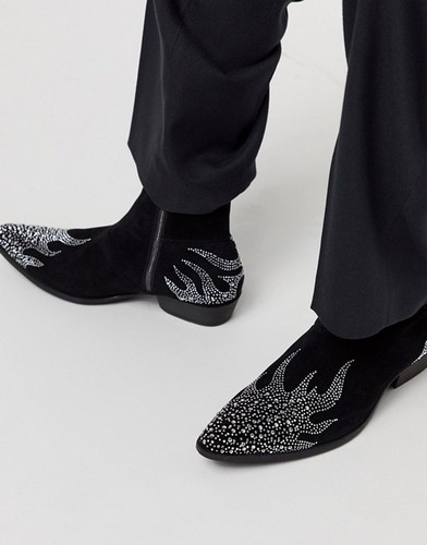 asos black western boots with rhinestones