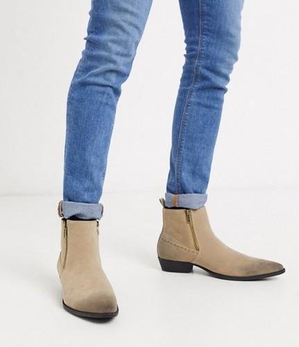 asos design faux suede tan western boots