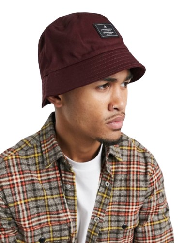 burgundy asos unrvld supply bucket hat