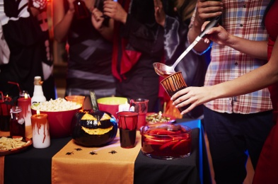 Close up at halloween party table