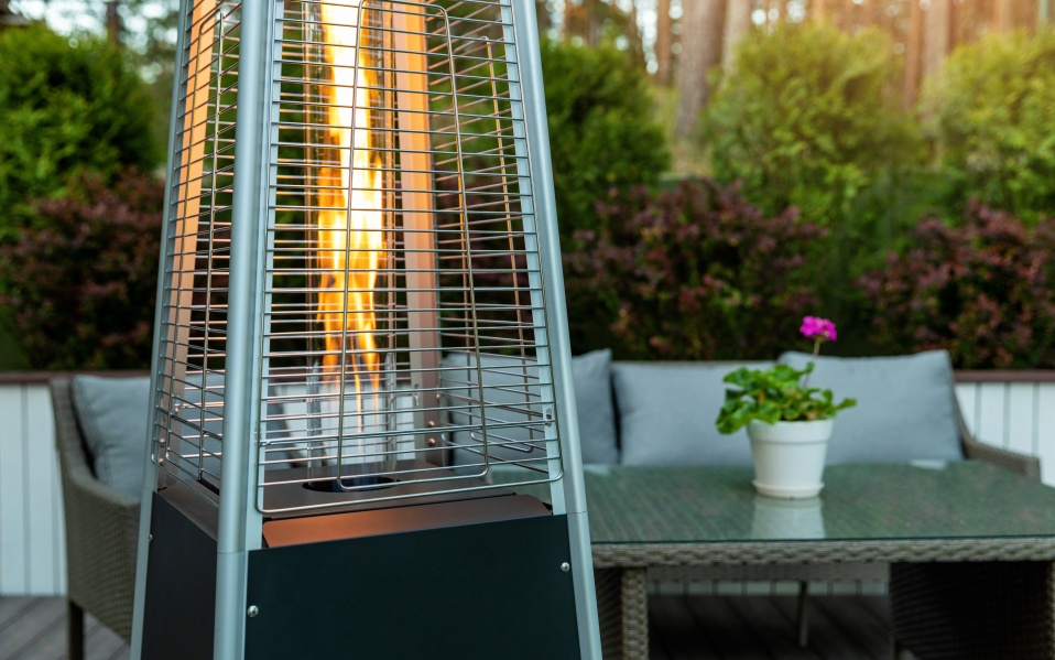 outdoor gas pyramid heater working on