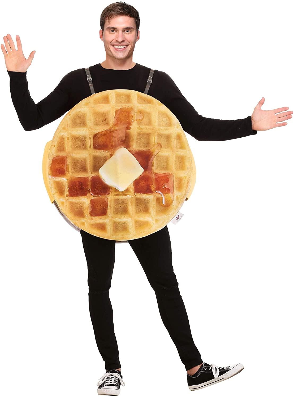 Man wears Fun Costumes Adult Eggo Waffle Costume