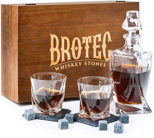 BROTEC Whiskey Glass and Decanter Set
