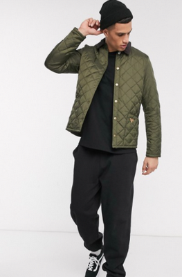 barbour olive green starling quilted jacket