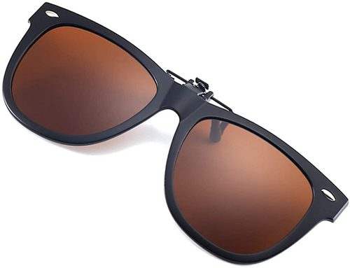 Black clip-on flip sunglasses with brown lenses