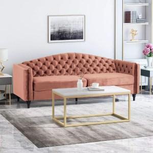 Christopher Knight Home Antoine Traditional Button Tufted Velvet Sofa