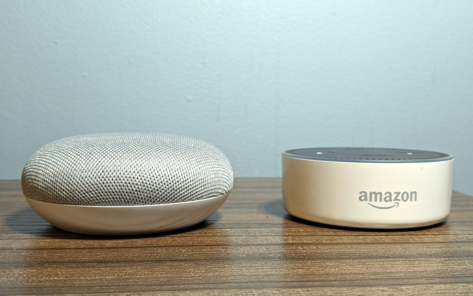 Google Home Mini and Amazon Echo