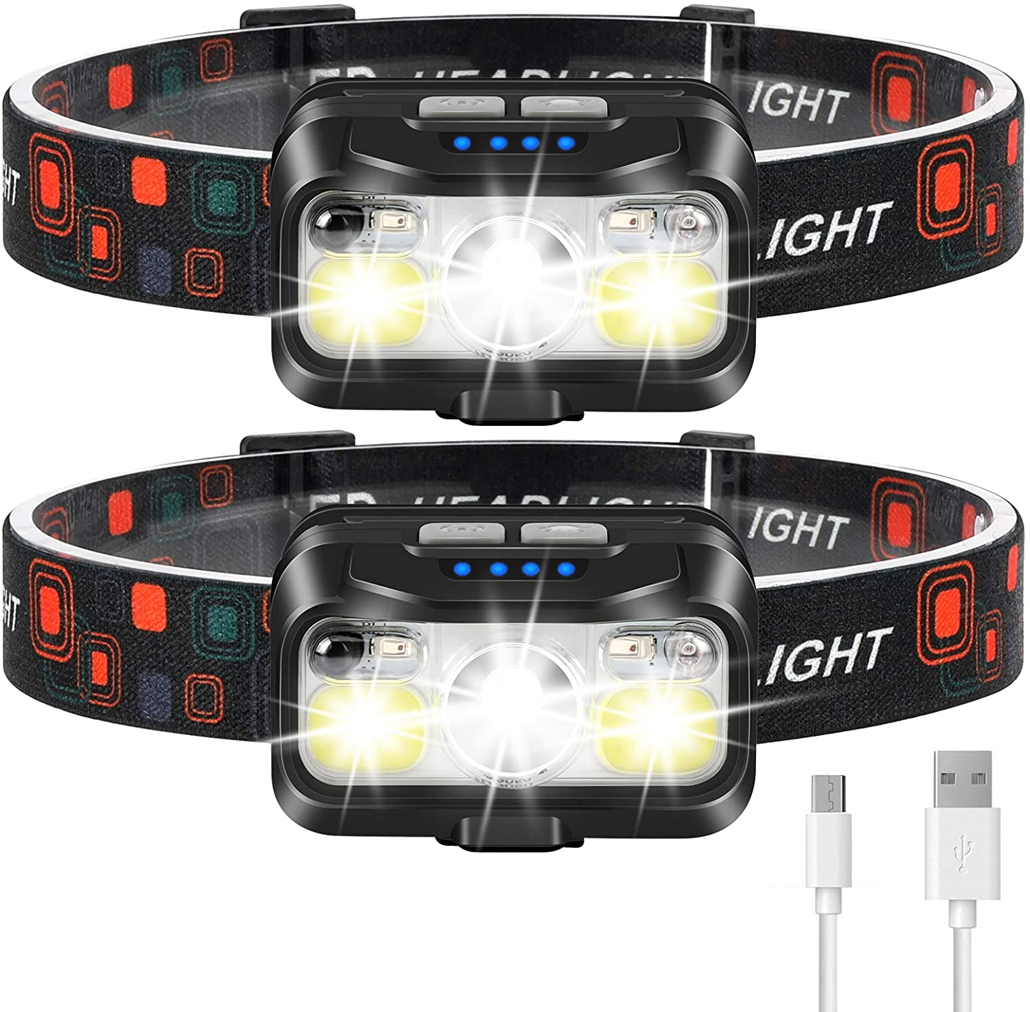 LHKNL Rechargeable Headlamp, two pairs