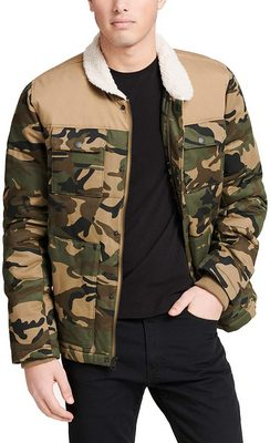 Levi's camo print and solid trim quilted worker jacket