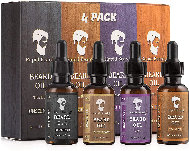 Rapid Beard Beard Oil Condition 4 Pack with Sandalwood, Tea Tree, Unscented and Mint beard oils