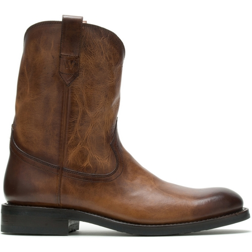 men's western boots - Tan antiqued wolverine BLVD roper boot