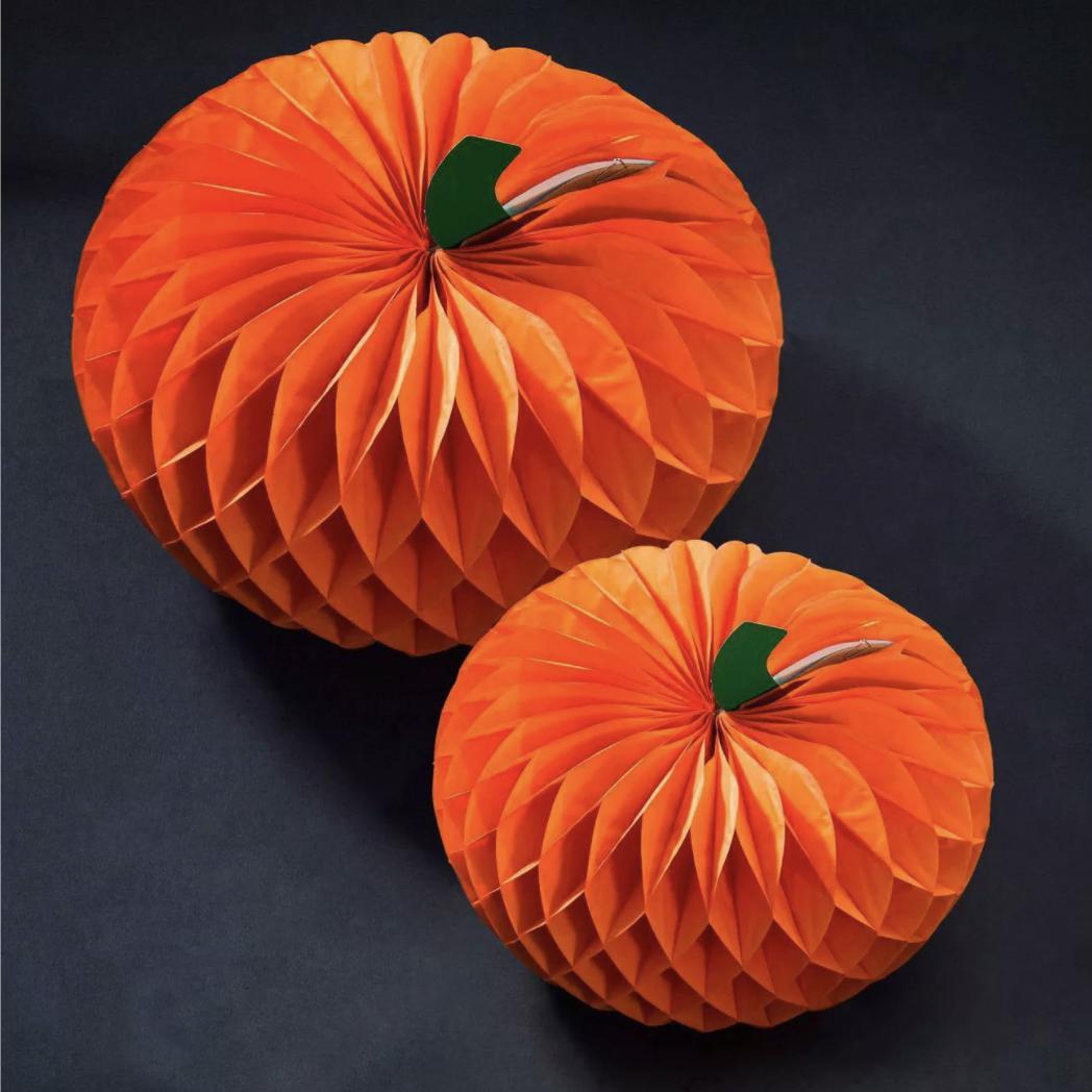 halloween decorations - Honeycomb Pumpkin Centerpiece Kit