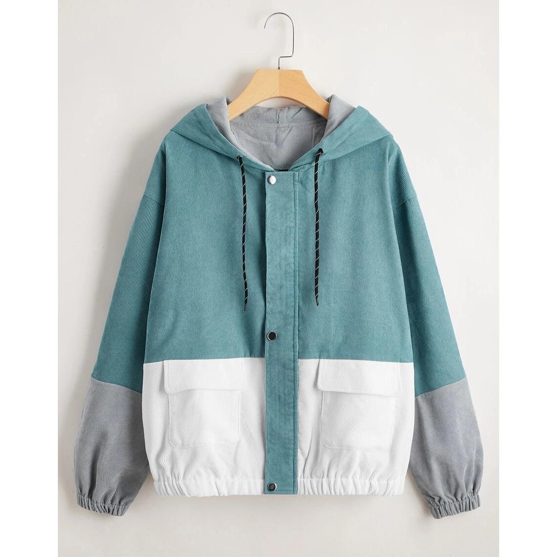 SHEIN Cut And Sew Flap Pocket Corduroy Jacket