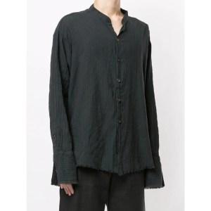 Greg Lauren Frayed Collarless Shirt