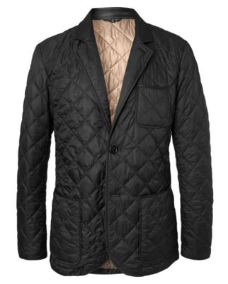 Dunhill black quilted blazer with leather trim