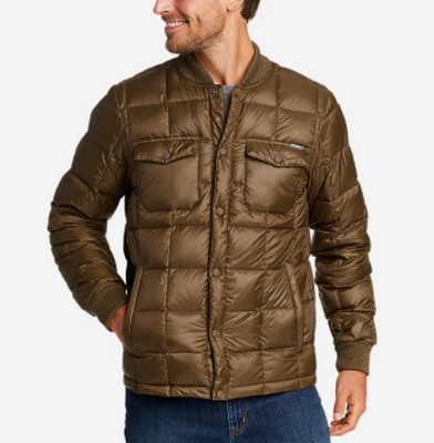 eddie bauer light brown down snap jacket