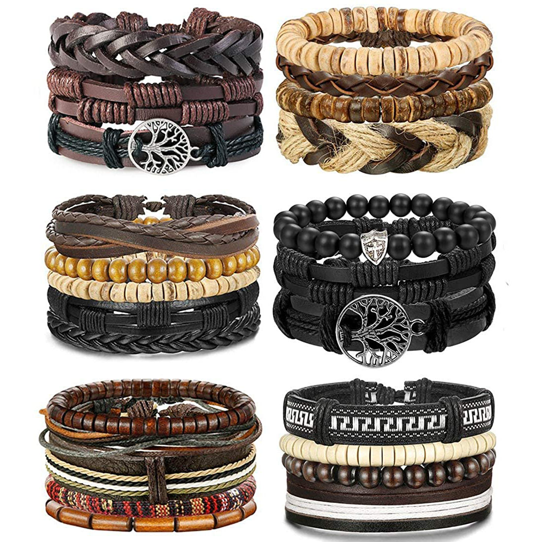 LOLIAS 24 Pcs Woven Leather Bracelet