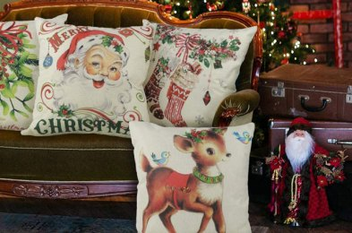the easiest way to decorate for the holidays? Add a christmas pillow to your couch
