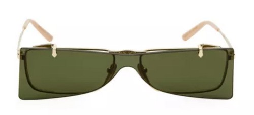 Gucci green rectangle gold frame flip-up sunglasses