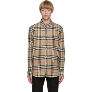 Burberry Beige Flannel Vintage Check Shirt, Best Men's Plaid Shirts