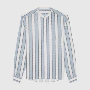 Chince Striped Grandad Collar Shirt Soft Blue Stripe