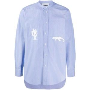 Jil Sander Embroidered Collarless Shirt