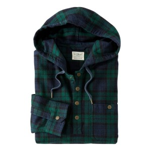 L.L.Bean Scotch Plaid Flannel Hooded Pullover