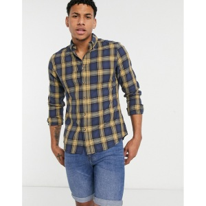 ASOS DESIGN Stretch Slim Shirt in Yellow And Navy Check , Best Men's Plaid Shirts