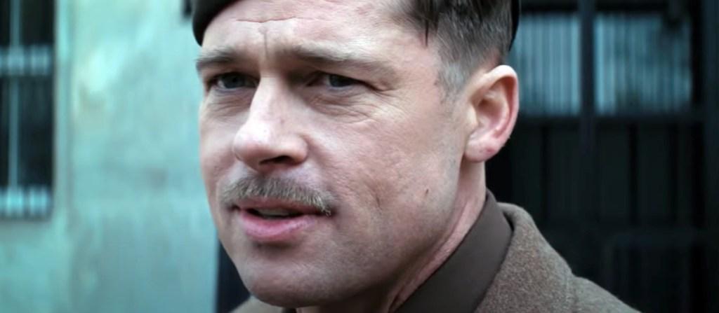 Brad Pitt wearing the Pencil Mustache