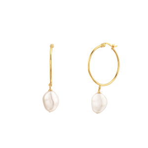 organic pearl hoop earrings, gifts for her