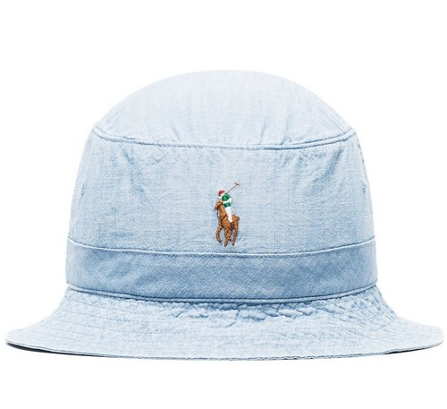 blue cotton polo ralph lauren bucket hat