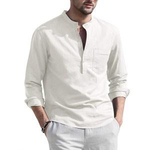 COOFANDY Linen Henley Shirt