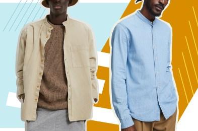 Two men in collarless shirts