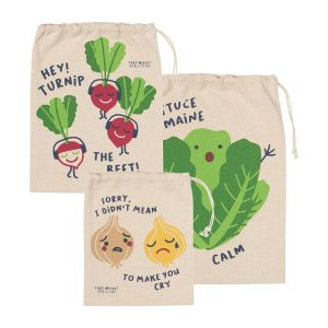 funny food plastic-free produce bags, eco-friendly gifts